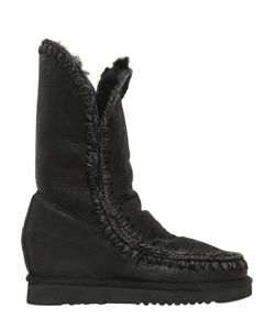 Mou | 70mm Eskimo Shearling Wedge Boots