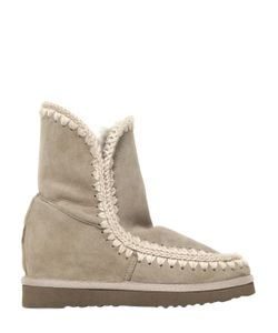 Mou | 70mm Short Eskimo Shearling Wedge Boots