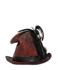 Move | Vintage Effect Straw Top Hat W/ Feathers