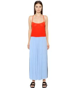 Mrz   Pleated Color Block Viscose Dress