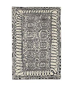 NANIMARQUINA | Black On White Estambul Wool Rug