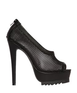 NASTY GAL | 140mm Bernese Mesh Faux Leather Pumps