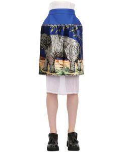 NATARGEORGIOU | Printed Neoprene Techno Chiffon Skirt