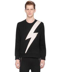 Neil Barrett   Bolt Faux Leather Neoprene Sweatshirt