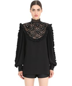 NENA RISTICH | Embellished Silk Shirt With Lace Insert