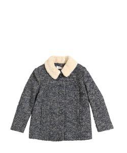 Nice Things Mini | Woven Wool Coat W/ Faux Shearling Collar