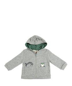Nice Things Mini | Frog Printed Zip-Up Cotton Sweatshirt