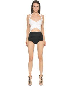 Norma Kamali   Crisscross Lycra One Piece Swimsuit
