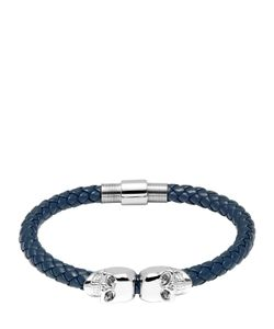 Northskull | Twin Skull Blue Nappa Leather Bracelet