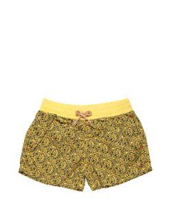 NUPKEET | Floral Printed Cotton Poplin Swim Shorts
