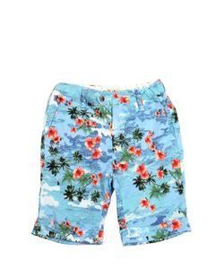 NUPKEET | Flower Printed Cotton Canvas Shorts