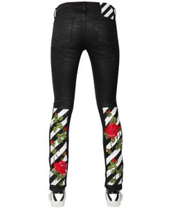 Off White | Coated Embroidered Skinny Cotton Denim