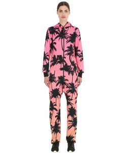 Onepiece | Palm Print French Terry Cotton Jumpsuit