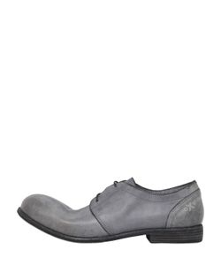 Oxs | Washed Leather Derby Lace-Up Shoes