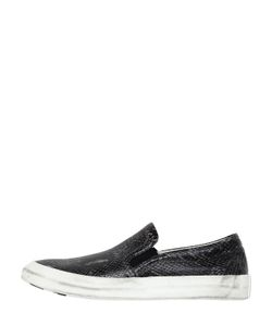 Oxs | Python Embossed Leather Slip-On Sneakers