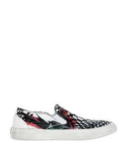 Oxs | Tattoo Printed Leather Slip-On Sneakers