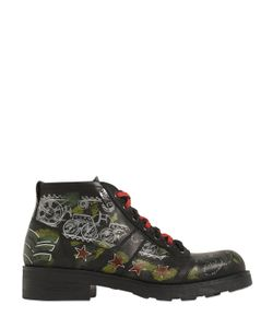 Oxs | Alle Tattoo Printed Leather Ankle Boots