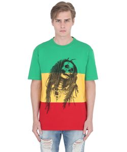 PALM ANGELS | Rasta Skull Cotton Jersey T-Shirt