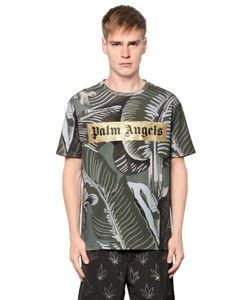 PALM ANGELS | Banana Leaves Cotton Jersey T-Shirt