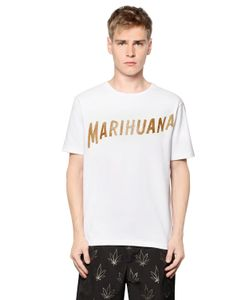 PALM ANGELS | Marijuana Printed Cotton Jersey T-Shirt
