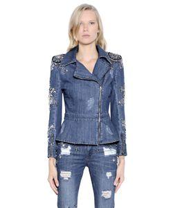 PAT BO | Embellished Cotton Denim Biker Jacket