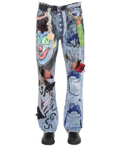 PATRICIA FIELD ART FASHION   Scooter Laforge Hand-Painted Denim Jeans