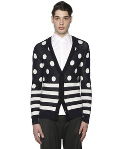 PAUL MÉMOIR | Polka Dots Stripes Wool Blend Cardigan