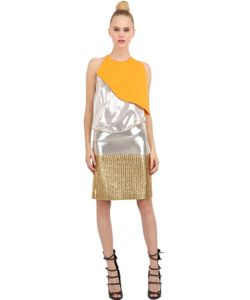 Pedro Lourenco | Metallic Lamé And Silk Crepe Top