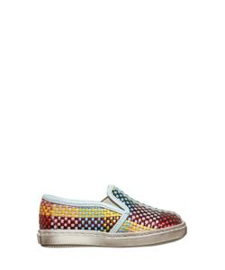 Pèpè | Woven Leather Straw Slip-On Sneakers