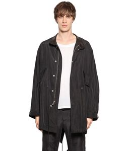 PERDRE HALEINE   Washed Silk Coat With Leather Collar
