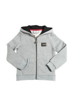 PHILIPP PLEIN JUNIOR | Hooded Logo Cotton Zip-Up Sweatshirt