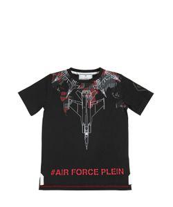 PHILIPP PLEIN JUNIOR | Air Force Printed Cotton Jersey T-Shirt