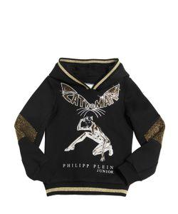 PHILIPP PLEIN JUNIOR | Cat Woman Embellished Cotton Sweatshirt