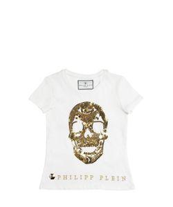 PHILIPP PLEIN JUNIOR | Sequin Embellished Cotton Jersey T-Shirt