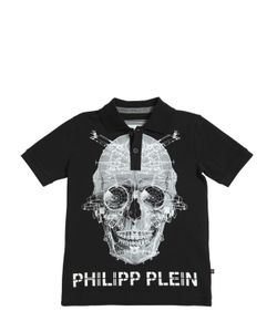 PHILIPP PLEIN JUNIOR | Skull Printed Cotton Piqué Polo Shirt
