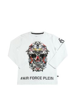 PHILIPP PLEIN JUNIOR | Skull Printed Cotton Jersey T-Shirt