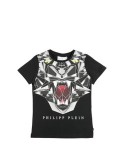 PHILIPP PLEIN JUNIOR | Tiger Printed Cotton Jersey T-Shirt