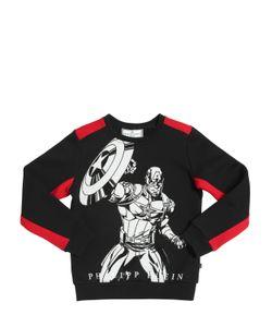 PHILIPP PLEIN JUNIOR | Superhero Embellished Cotton Sweatshirt