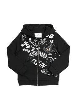 PHILIPP PLEIN JUNIOR | Logo Print Cotton Fleece Sweatshirt