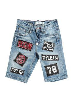 PHILIPP PLEIN JUNIOR | Wrinkled Washed Cotton Shorts