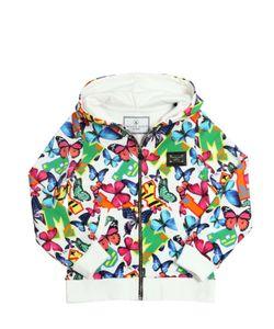 PHILIPP PLEIN JUNIOR | Butterfly Print Hooded Cotton Sweatshirt