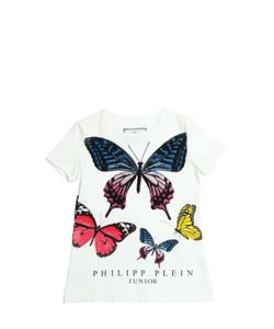 PHILIPP PLEIN JUNIOR | Butterfly Printed Cotton Jersey T-Shirt
