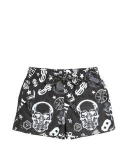 PHILIPP PLEIN JUNIOR | Skull Printed Nylon Swimming Shorts