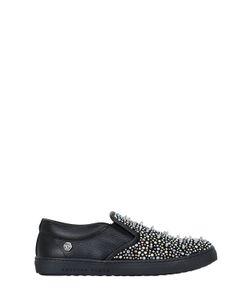 PHILIPP PLEIN JUNIOR | Studded Leather Slip-On Sneakers