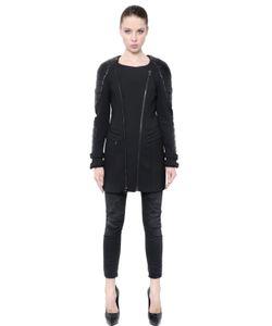 Pierre Balmain | Wool Interlock Faux Leather Coat