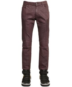 Pierre Balmain | 16.5cm Biker Coated Stretch Denim Jeans
