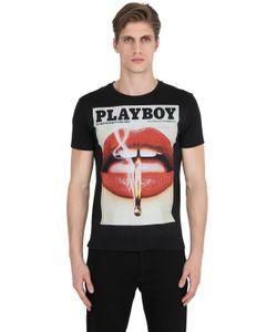 Playboy | Lips Printed Cotton Jersey T-Shirt