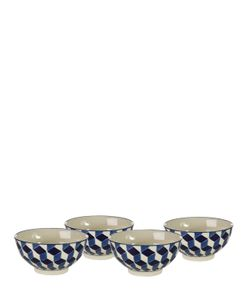 POLS POTTEN   Set Of 4 Painted Bone China Bowls