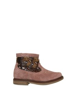 Pom D'Api | Sequins Embroidered Suede Ankle Boots
