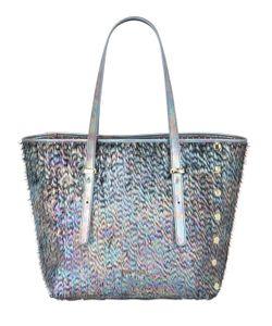 POP BAG BY J&C | Medi Feather Effect Metallic Fringe Bag